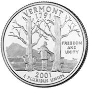 "¼ Dollar ""Washington Quarter"" (Vermont) -  reverse"