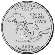 """¼ Dollar """"Washington Quarter"""" (Michigan) -  reverse"""