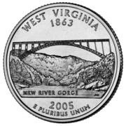 "¼ Dollar ""Washington Quarter"" (West Virginia) -  reverse"