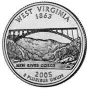 "¼ Dollar ""Washington Quarter"" (West Virginia) -  reverse"