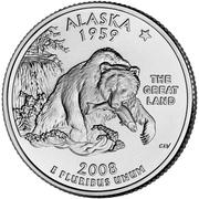 """¼ Dollar """"Washington Quarter"""" (Alaska) -  reverse"""
