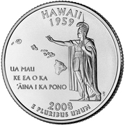 "¼ Dollar ""Washington Quarter"" (Hawaii) -  reverse"