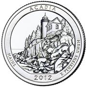 """¼ Dollar """"Washington Quarter"""" (Acadia National Park, Maine) -  reverse"""
