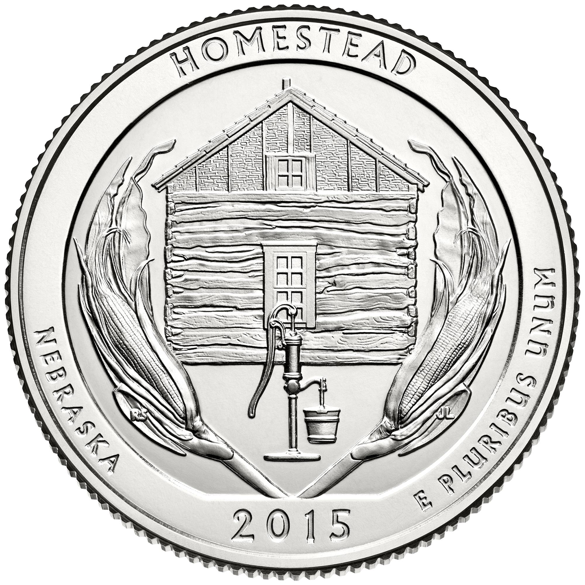 "USA Quarter 2015 D mint /""Homestead/"" UNC 1//4 dollar"