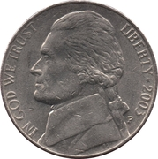 "5 Cents ""Jefferson Nickel"" (1st portrait) -  obverse"
