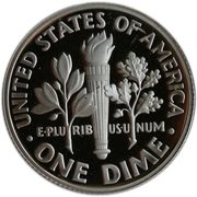 """1 Dime """"Roosevelt Dime"""" (Silver Proof) -  reverse"""