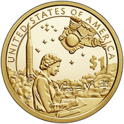 """1 Dollar """"Native American Dollar"""" (American Indians in the Space Program) -  reverse"""