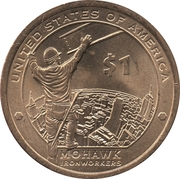 "1 Dollar ""Native American Dollar"" (Mohawk Ironworkers ) -  reverse"