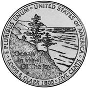 """5 Cents """"Jefferson Nickel"""" (Westward Journey, Ocean View) -  reverse"""