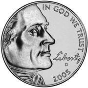 """5 Cents """"Jefferson Nickel"""" (Westward Journey, Bison) -  obverse"""