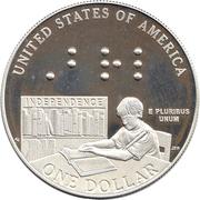 1 Dollar (Louis Braille Bicentennial) -  reverse