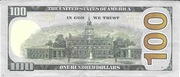 100 Dollars (Federal Reserve Note; colored) – reverse