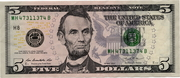5 Dollars (Federal Reserve Note; colored) – obverse