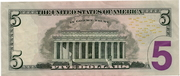 5 Dollars (Federal Reserve Note; colored) – reverse