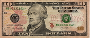 10 Dollars (Federal Reserve Note; colored) – obverse
