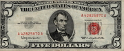 5 Dollars (United States Note; Red Seal right; with motto) -  obverse
