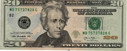 20 Dollars (Federal Reserve Note; colored) – obverse