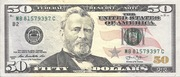 50 Dollars (Federal Reserve Note; colored) – obverse