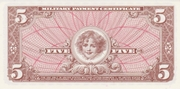 5 Dollars- Military Payment Certificate - Series 661 – reverse