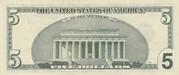 5 Dollars (Federal Reserve Note; large portrait) – reverse