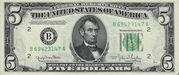 5 Dollars (Federal Reserve Note; small portrait; no motto) – obverse