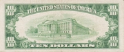 10 Dollars (Silver Certificate; Blue Seal at right) – reverse