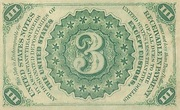 "3 Cents (""Fractional Currency"" - 3rd issue) -  reverse"