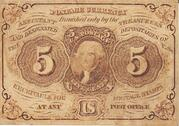 "5 Cents (""Postage Currency"" - 1st issue) – obverse"