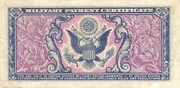 5 Cents Military Payment Certificate  Series 481 – reverse