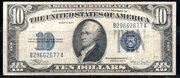 10 Dollars (Silver Certificate; Blue Seal and 10) -  obverse