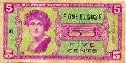 5 Cents (Military Payment Certificate) – obverse