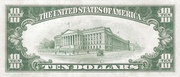 10 Dollars (Federal Reserve Note; Large TEN; Branch ID in Numbers) – reverse