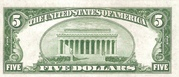 5 Dollars (Federal Reserve Note; Large FIVE; Branch ID in Numbers) – reverse