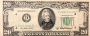 20 Dollars (Federal Reserve Note; small portrait; no motto) – obverse