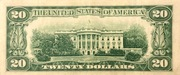 20 Dollars (Federal Reserve Note; small portrait; no motto) – reverse
