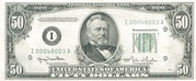 50 Dollars (Federal Reserve Note; small portrait; no motto) – obverse