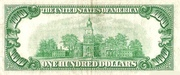 100 Dollars (Federal Reserve Note; small portrait; no motto) – reverse