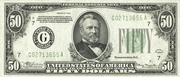 50 Dollars (Federal Reserve Note; Large FIFTY; Branch ID in Letters) – obverse
