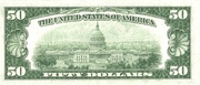 50 Dollars (Federal Reserve Note; Large FIFTY; Branch ID in Letters) – reverse