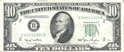 10 Dollars (Federal Reserve Note; small portrait; no motto) – obverse