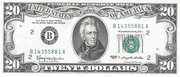 20 Dollars (Federal Reserve Note; small portrait) – obverse