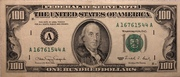 100 Dollars (Federal Reserve Note; small portrait; with security thread) – obverse