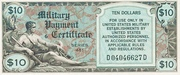 10 Dollars Military Payment Certificate Series 481 – obverse