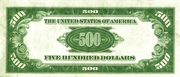 500 Dollars (Federal Reserve Note) – reverse