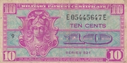 10 Cents Military Payment Certificate Series 521 – obverse