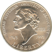 1 Dollar (Birth of Thomas Jefferson) -  obverse