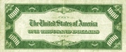 1,000 Dollars (Federal Reserve Note) – reverse