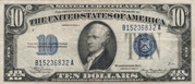 10 Dollars (Silver Certificate; Blue Seal and 10) – obverse