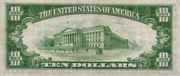10 Dollars (Silver Certificate; Blue Seal and 10) – reverse