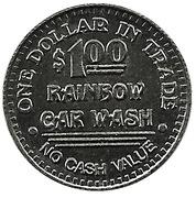 1 Dollar Carwash Token - Rainbow Car Wash – reverse